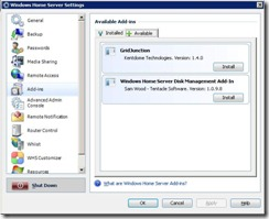 Available Add-Ins in Windows Home Server