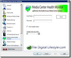 media center health monitor settings